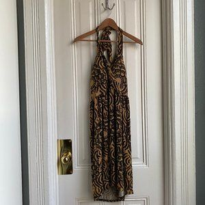 Attention Yellow & Brown Bohemian Halter Dress
